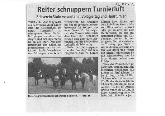 Vereinsturnier 08.07.12 Artikel Kreiszeitung