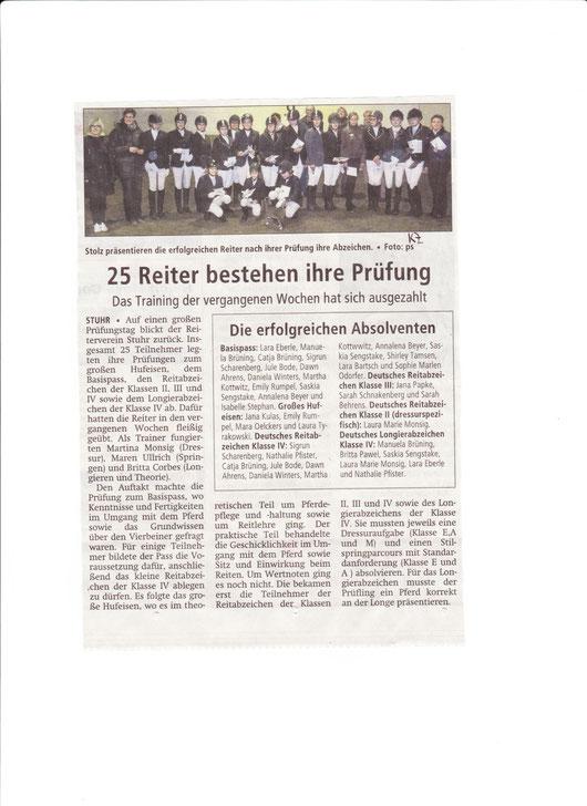 Prüfungstag Abzeichen 24.11.2013 Artikel Kreiszeitung