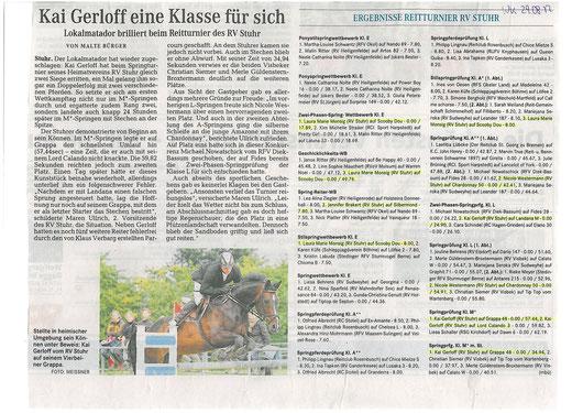 Springturnier 25.+26.08.12 Artikel Weser-Kurier