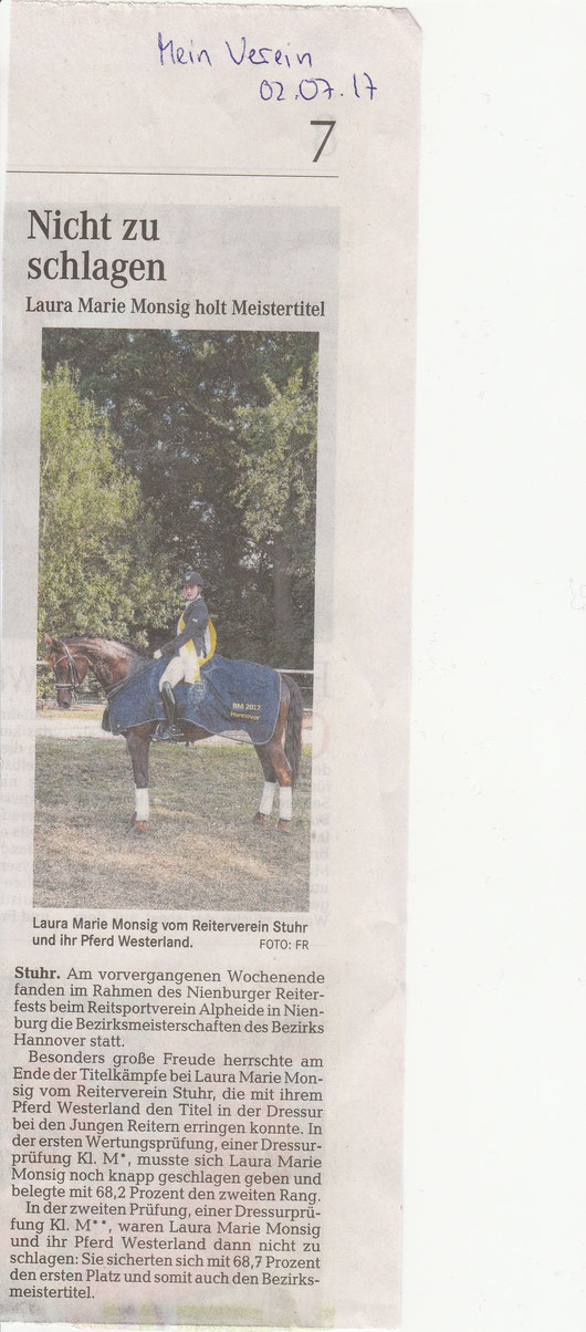 Artikel Weser-Kurier, Mein Verein 02.07.17