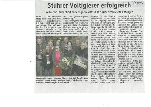 Mitgliederversammlung 15.03.12 Artikel Kreiszeitung