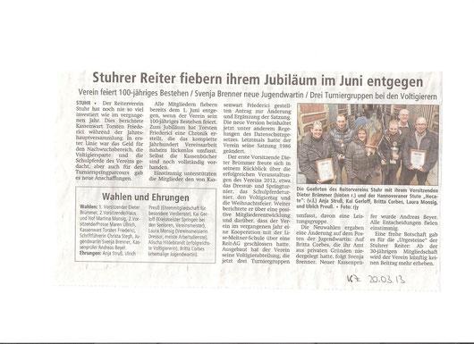 Mitgliederversammlung 14.03.2013 Artikel Kreiszeitung