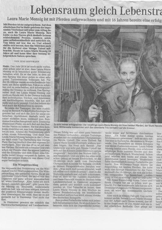 Laura Monsig Nov./Dez. Artikel Weser-Kurier 1