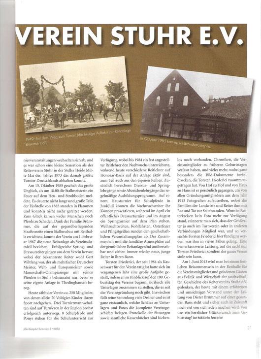 Artikel Pferdesport Bremen Mai-Ausgabe
