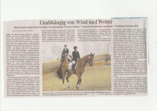 Dressurturnier, Artikel Weser-Kurier v. 29.04.2015