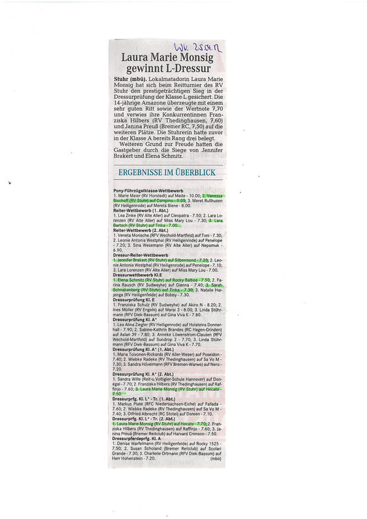 Dressurturnier 21.+22.04.12 Artikel Weser-Kurier