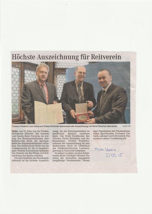 """Sportplakette / Artikel """"Mein Verein"""" 22.03.2015"""