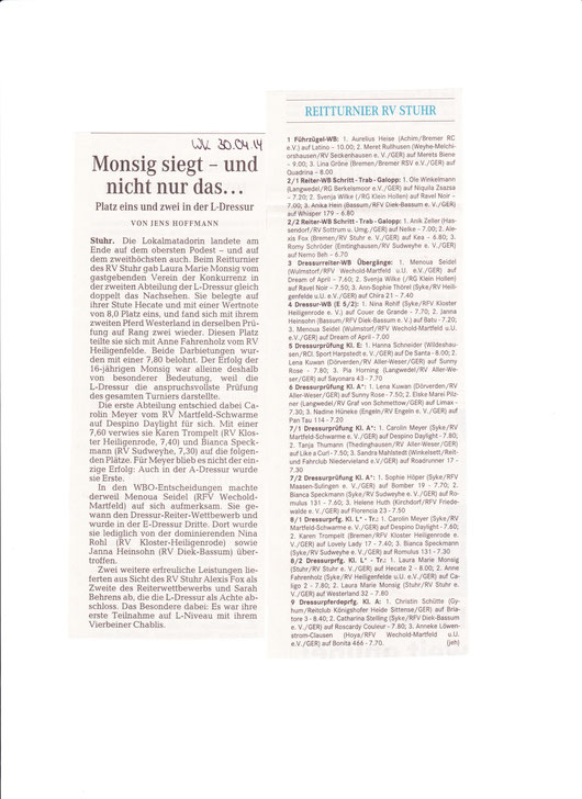 Dressurturnier 26.+27.04.14 Artikel Weser-Kurier