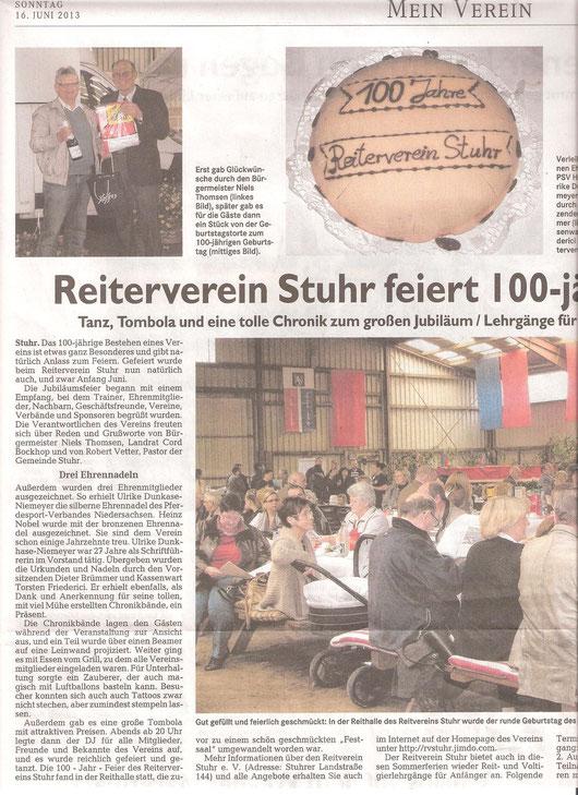 """Artikel Werser-Kurier """"Mein Verein"""" 16.06.2013"""