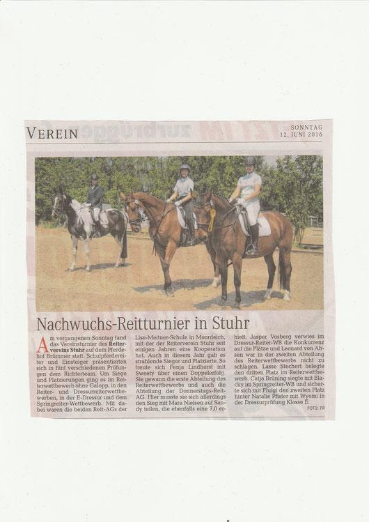 Artikel Weser-Kurier, Mein Verein 12.06.2016
