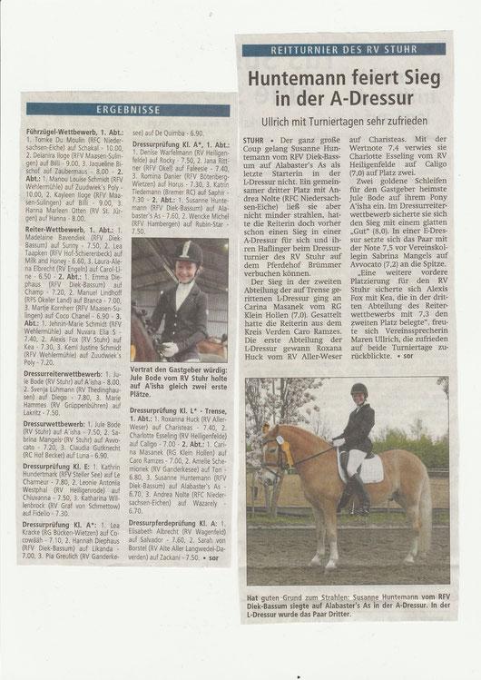 Dressurturnier, Artikel Kreiszeitung v. 28.04.2015
