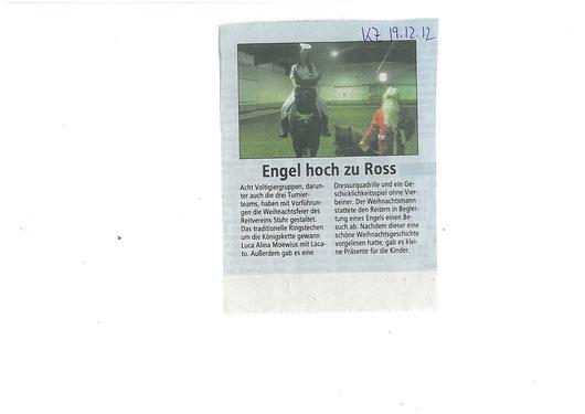 Weihnachtsfeier 09.12.12 Artikel Kreiszeitung