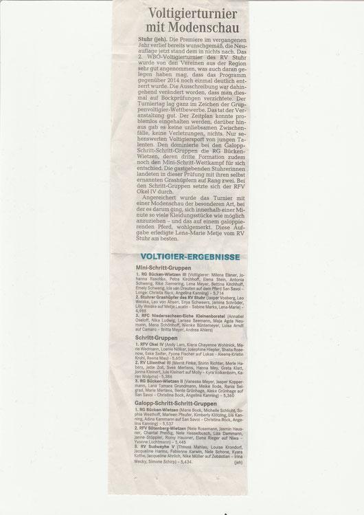 Voltigierturnier, Artikel Weser-Kurier