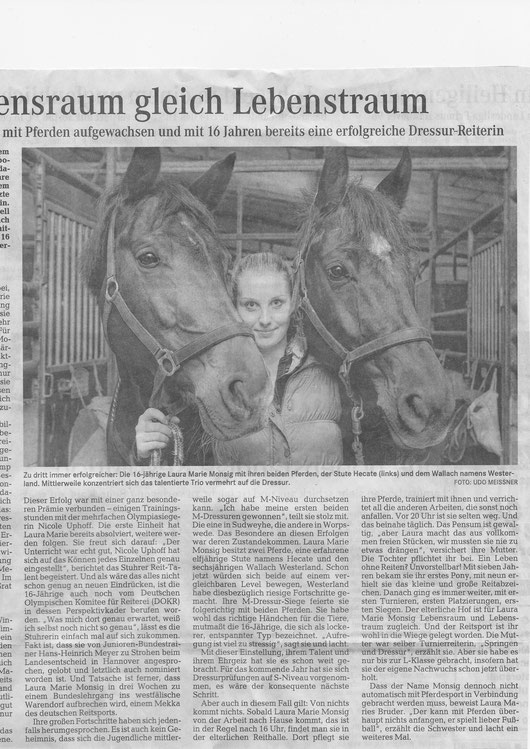 Laura Monsig Nov./Dez. Artikel Weser-Kurier 2