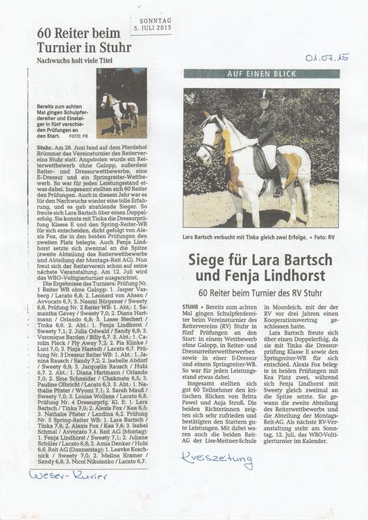 Vereinsturnier, Artikel Kreiszeitung + Weser-Kurier