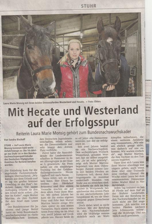 Laura Monsig Nov./Dez. 2014 Artikel Kreiszeitung
