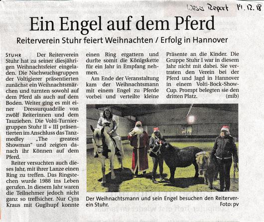 Artikel Weserreport vom 19.12.2018