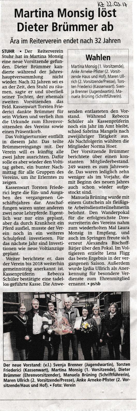 Artikel Kreiszeitung 22.03.2017