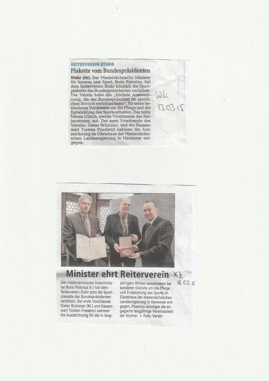Sportplakette / Artikel Kreiszeitung + Weser-Kurier