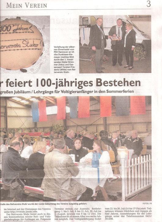 """Artikel Weser-Kurier """"Mein Verein"""" 16.06.2013"""