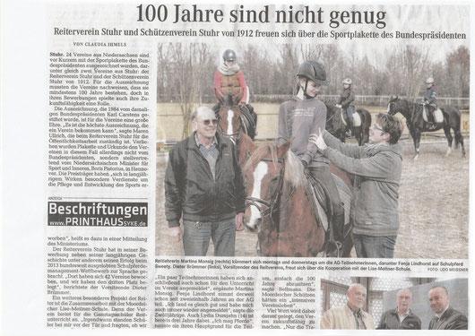 Sportplakette / Reit AG, Artikel Weser-Kurier 27.03.2015 Teil 1