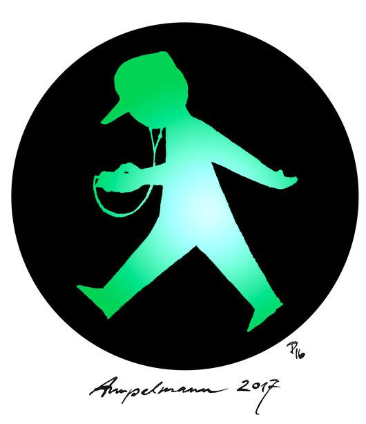 Das grüne Ampelmännchen neu erfunden für die heutige Zeit mit Basecap und Handy mit Kopfhörern. Cartoon von Antje Püpke