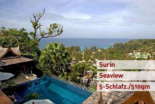 Phuket/Surin: 5-SZ-Meerblick Poolvilla