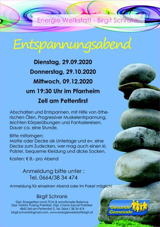 Entspannungsabend Donnerstag 03.10.2019, Donnerstag 17.10.2019, Donnerstag 14.11.2019
