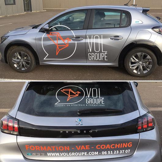 Notre nouvelle voiture décorée aux couleurs de Vol Groupé