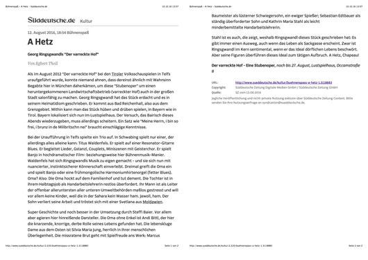 """Eine Stubenoper von Georg Ringsgwandl   Regie: Steffi Baier  Die neue Produktion des Münchner Lustspielhauses  Die neue Sommerproduktion des Münchner Lustspielhauses heißt in diesem Jahr """"Der varreckte Hof"""" eine Stubenoper von Georg Ringsgwandl. Das """"sch"""