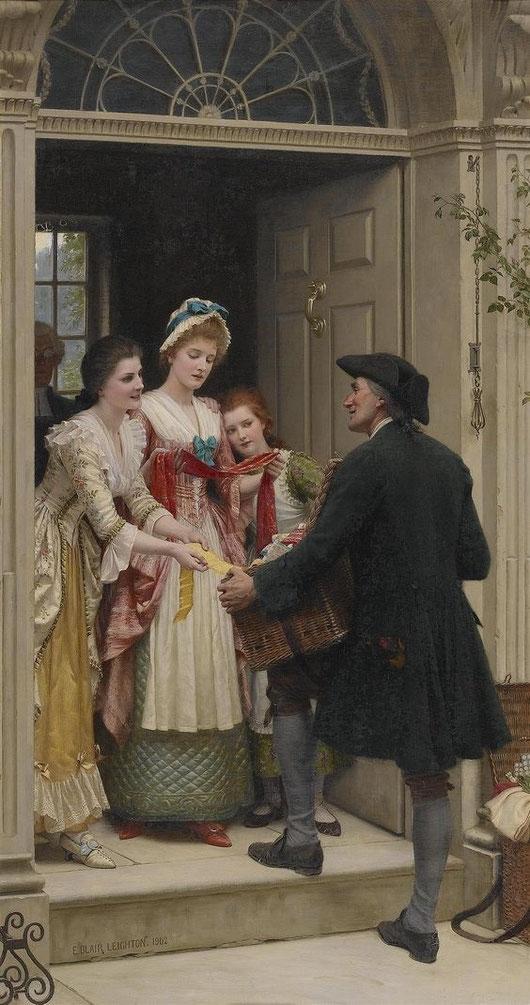 LE COLPORTEUR ANGLAIS  par EDMUND BLAIR LEIGHTON  (1853 + 1922)