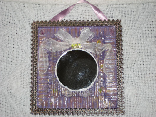 Mini miroir en carton plissé couleur satin lilas