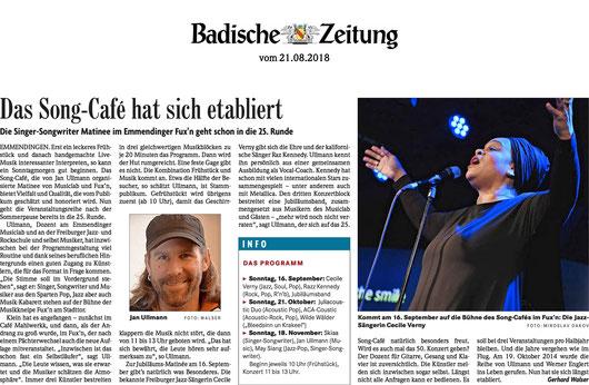 Artikel in der Badischen Zeitung zum 25. Song Café