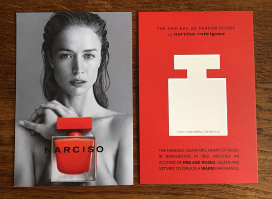 NARCISO RODRIGUEZ ROUGE - CARTE POSTALE AVEC VERSO A GRATTER