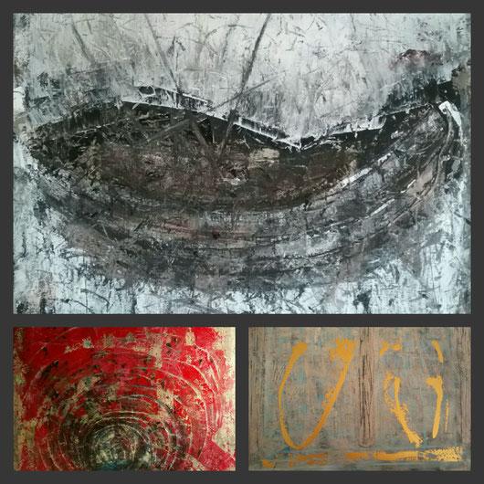 Kunstort im Web Nicole Krebber, Collage aus : Das Boot (Die Wiege), Die Katakombe, Begegnung