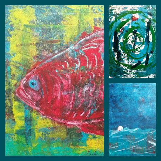 Collage aus: Der rote Fisch, Wasserspiele, Die Boje