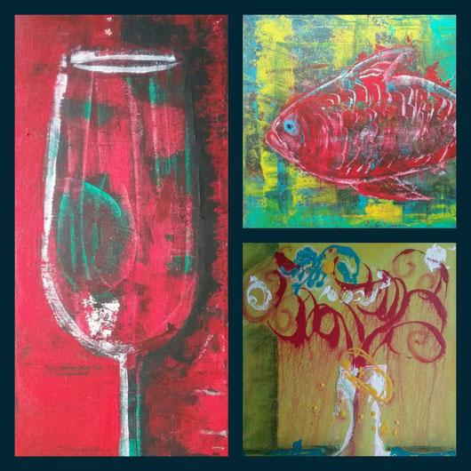Collage aus: Leben im Glas,  Der rote Fisch,  Diva