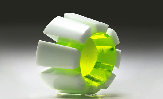 Uranium | kiln cast, cut, grinded, glued, hand polished opal and colored glass| 12 x 20 x 15 cm | 2011