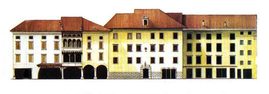 la seconda palazzina da sinistra è sede del famoso Caffè Longobardo