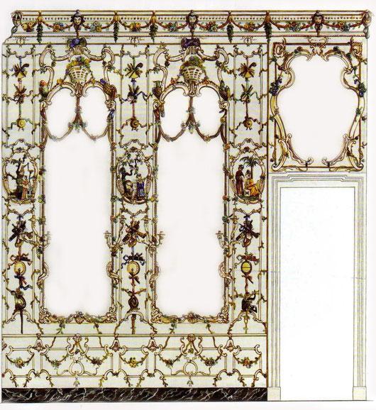 Salottino di porcellana - parete con specchi. Tutte le decorazioni delle pareti e del soffitto sono, in pregiata porcellana
