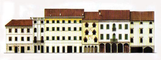 il lato est della piazza ospita l'abitazione dello storico cividalese Paolo Diacono, ( la si riconosce per la caratteristica forma di torre al centro di questa sequenza di edifici )