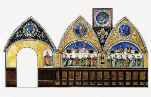 la Sala delle Udienze, sita nel perugino palazzo dei Priori, sede del Collegio del Cambio