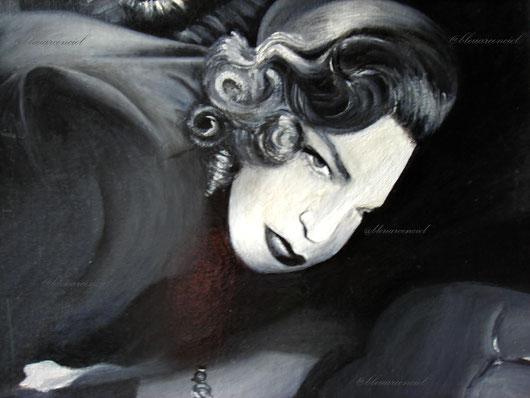 1993 Peinture à l'huile sur toile,  d'après photo de Simone Signoret