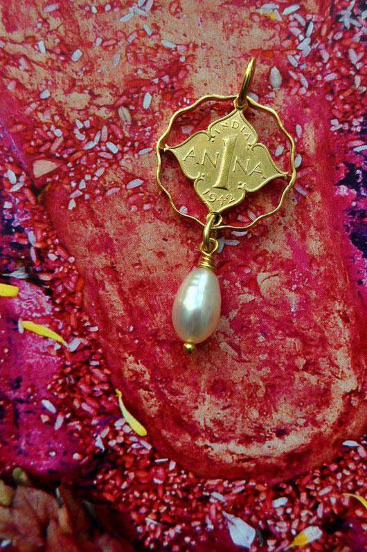 Münzsägewerk Katrin Thull | Indien - Anna mit hängender Perle