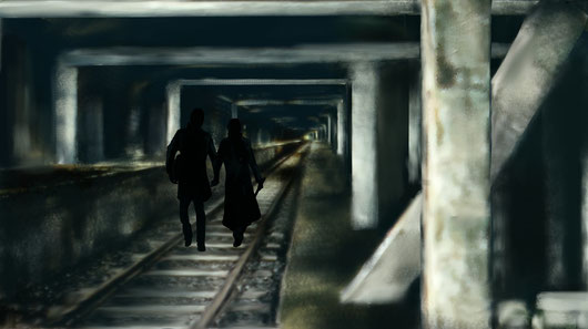 Lea und Colin in den Tunneln/Tunnel/Kanal unterhalb von Grenoble. Uterwelt. Ebook Leas Erbe. Sterne Blut.  Andreas Wisst. Autor. Science-Fiction. Romantic Fantasy. Urban Fantasy. Fantasy. Amazon. Jugendbuch.Roman.