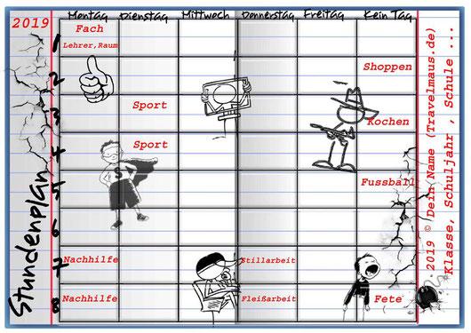 Heftstundenplan 2019 im PDF-Format - Texte am PC eintragen!