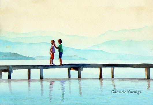 Ferienglück. Aquarell von Gabriele Koenigs (2014). Privatbesitz