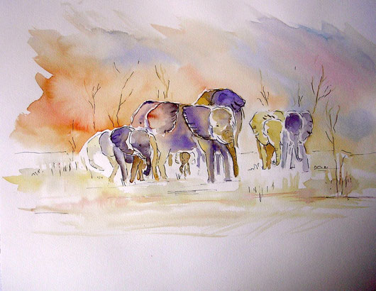 "Nr. 41 / WALTRAUD MUTH / ""Elefanten"", Aquarell auf Papier, 50x40cm, 120,-€"