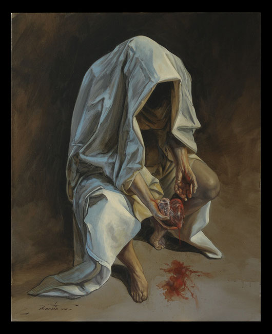 Le cœur sur la main & la mort dans l'âme - Huile sur toile 81X100