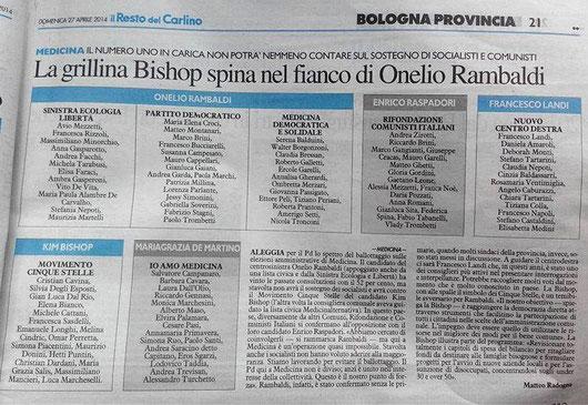 Pubblicato su il Resto del Carlino Bologna del 27/04/14